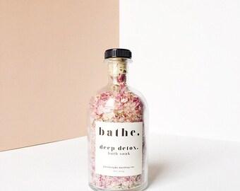 deep detox. bath soak sample // Himalayan Sea Salt // Dead Sea Salt // 100% Organic Essential Oils // Organic Pick Rose Petals // 8.50 oz.
