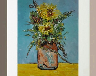 Original Oil Painting - Yellow Carnations in Vase