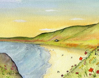 A4 Giclee Print of Rhossili Bay,  Original Watercolour Painting