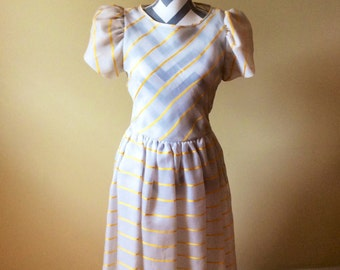 Vintage silk dress/ 1960s/1970s striped dress