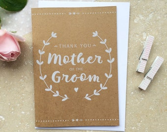 Rustic Mother of the Groom Thank You Card