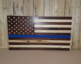 American Flag (Thin Blue Line Edition) out of Pallet Wood