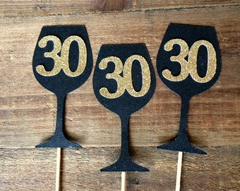 Wine Glass Cupcake Toppers.  30th Birthday Cupcake Toppers.  Dirty 30.