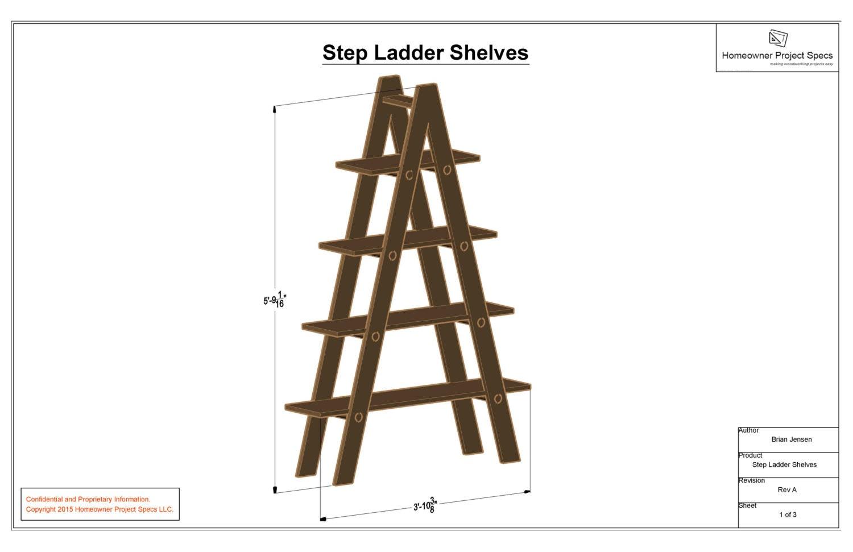 step ladder shelf system drawing sheets. Black Bedroom Furniture Sets. Home Design Ideas