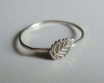 Leaf Ring, Stackable Sterling Silver Leaf Ring, Stacking Ring