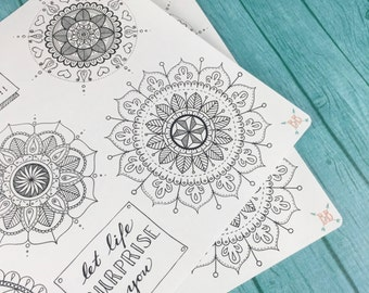 Mandalas and Quotes Coloring Stickers