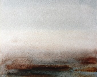 Abstract watercolor painting, minimal art, ligh grey, burnt siena, browns and dark bluish grey