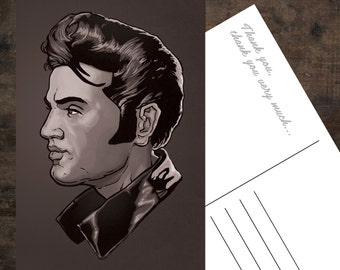 Elvis B/W Illustrated Thank You Cards (Set of 10)