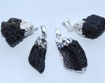 Lava pendant etsy black lava pendant charm 30 40mm lengh silver electroplated head irregular shape mozeypictures Gallery
