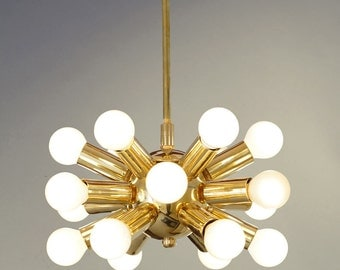 18 Lights Modern Brass Hanging Ceiling Sputnik Chandelier Light Fixture