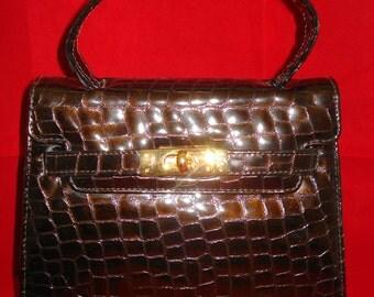 Small Mock Crock Dark Brown Patent Handbag