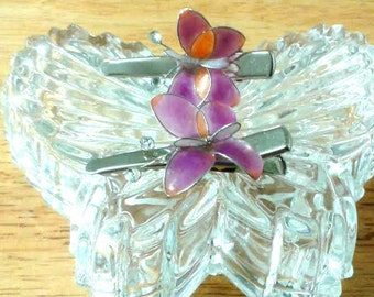 Handmade,Butterfly Hair Clips,Trendy Colors,Fashion Accessories,Hair Accessories,Butterfly, Colors Orange/Purple,Orange,Green,Blue 2 PK