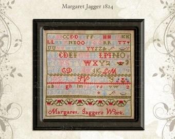 PDF - Margaret Jagger 1824 ~ reproduction sampler CHART (PDF/electronic copy)