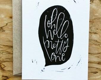 Handprinted Oh Hello Card