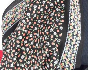 Large Vintage Floral Cotton Bandana Handkerchief Scarf