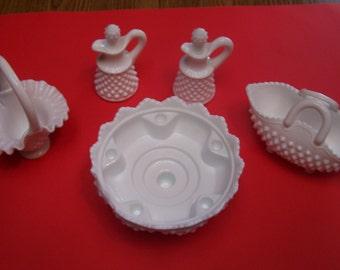 White fenton Hobnail milkglass lot