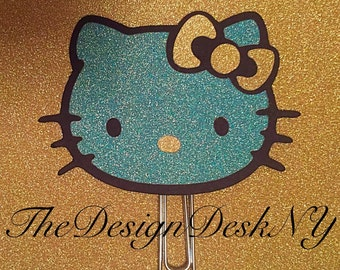 Blue Glam Hello Kitty Planner Clip Page Clip Bookmark Notebooks Journal Binder Clip Paper clip