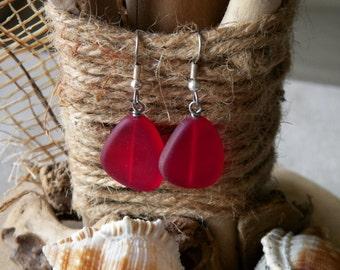 Red Sea Glass earrings on sterling silver fish hooks