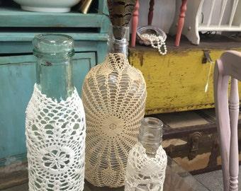 Set of 3 Doily Glass Bottles