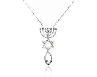 Star Of david & Menorah Design Necklace Handmade 925 Sterling Silver
