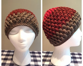 "Handmade Crocheted Adult Puff Stitch Hat (22-24"") (Caron Cakes)"
