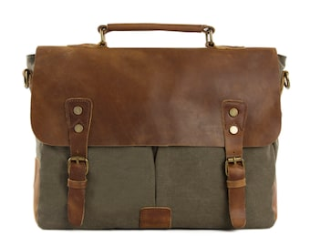 Handmade Waxed Canvas Leather Messenger  Bag, Laptop Briefcase, Shoulder Bag