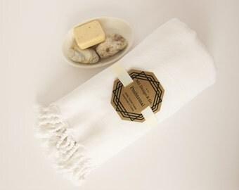 White Turkish Towel, Turkish Peshtemal Towel, Turkish Bath Towel, Hamam Towel, Beach Towel, HandTowel,Bridesmaid, Travel, Swim Towel