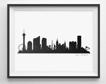 Las Vegas Skyline Silhouette  -  PDF, png, SVG, eps, JPG. Las Vegas Black and White Skyline