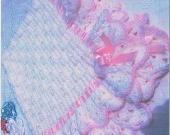 """Crochet baby blanket pattern in Basket weave stitch. Size 37"""" X 40""""."""