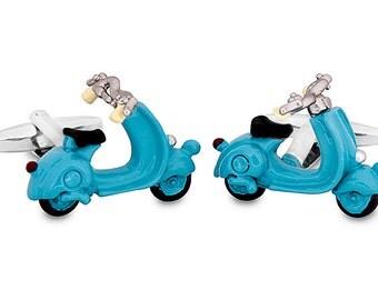 Cufflinks Turquoise Vespa Motorbike