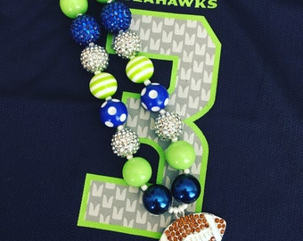 Football Bubblegum Bead Necklace, Seattle Seahawks Necklace