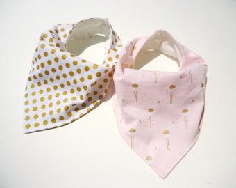 Bandana bib girl- Girl bandana bib- Bamboo Baby girl bib-Golden flamingos baby bib-Gold Polka dot baby bib