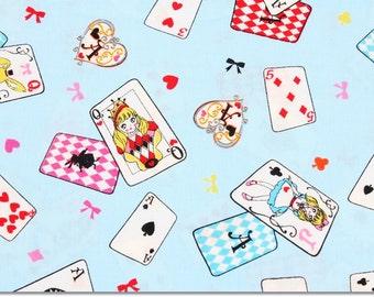 Alice in Wonderland Cards Fabric made in Japan, Lecien Fabric / Half Yard 18inch x 43inch