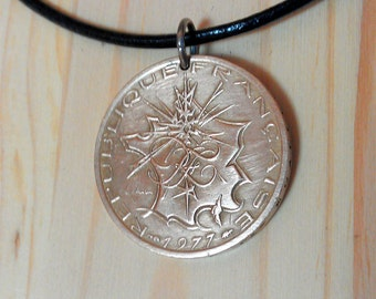 French Coin Pendant, 10 Franc Coin Necklace Pendant charm, Vintage France Map Necklace,  French 10 Francs