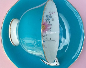 Pretty in Pink-and Blue-Stunning Aynsley Footed Teacup and Saucer