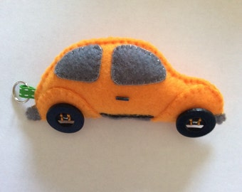 VW Beetle keyring, bag charm in orange