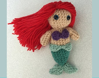 Amigurumi Mini Ariel, The Little Mermaid, Crochet Toy, Handmade Gift, Ariel Crochet Doll, Mermaid