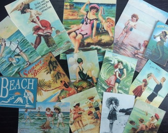 BB24 -- Lot of 14 Vintage Seashore Greeting Card DIE CUTS for Card Making Free Shipping