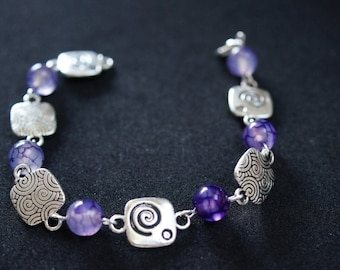 PEARLS BRACELET AGATE purple and connectors