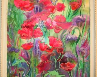 """Batik,""""Maki"""",art,Picter on silk,handmade,paints for silk painting"""