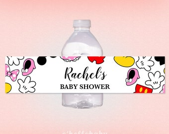 Printable Personalized Disney Baby Shower Water Bottle Labels   Disney Theme  Personalized Water Bottle Labels 012