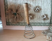 Vintage French Egg Beater Wire Whisk with Wooden Handle Whip Hand Mixer Soviet Vintage Egg Beater with Wooden Handle Made in USSR