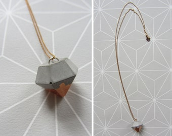 Concrete links necklace brass copper color diamond