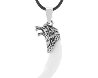 Wolf's Fang Necklace White Claw Pendant - Elegant Gift Box