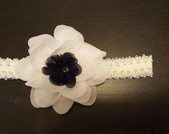 Black & White Infant/ Girl's Silk Flower Headband