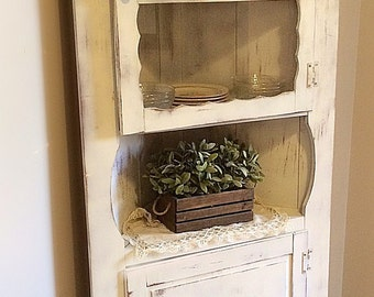 Beautiful White /Rustic /Vintage / Shabby Chic/French Cottage/ Farm House Barn /Corner Cabinet