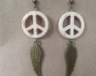 Bronze Peace Earrings