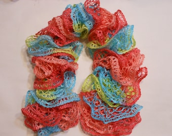 """Handmade Ruffle Frill Scarf for 18"""" Dolls - Sorbet (blue/yellow/coral)"""