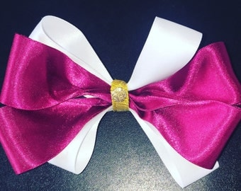 Pink and white bow