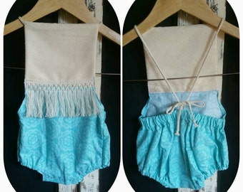 Baby girl's vintage boho style romper. 'One romper three ways' in size 3-9 months.